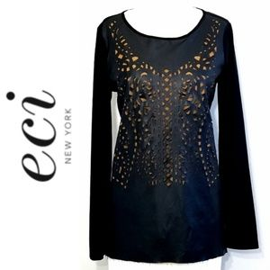 Eci New York Laser Cutout Faux leather top